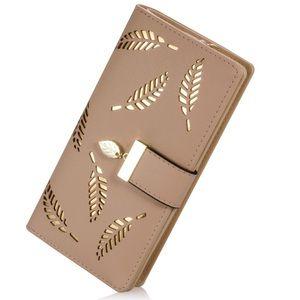 Handbags - Tan women's wallet with leaf embellishments
